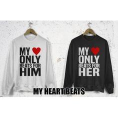 Bluzy dla par zakochanych komplet 2 szt My heart only beats for him her