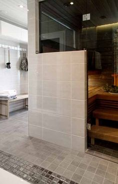 Laundry Room Bathroom, Bathroom Toilets, Modern Saunas, Sauna Shower, Sauna Design, Spa Rooms, Bathroom Inspiration, New Homes, Interior Design