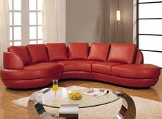Red Leather Sectional Sofa.