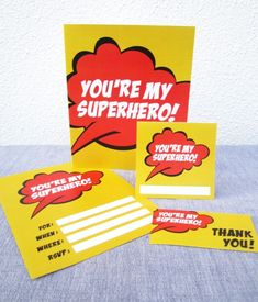 "[free printable] Superhero theme Father's Day party kit in THREE DESIGNS to choose from ""you're my superhero"" Invitation, cards, cupcake circles or breakfast in bed pancake toppers, gift tags, beverage / drink / soda, beer or wine bottle labels, thank you cards and more! { FATHER'S DAY } Dad, grandpa, uncle, godfather, stepfather"