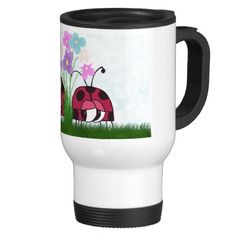 Two Ladybugs ~ Love At First Sight! Travel Mug.  $22.95