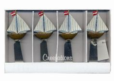 NAUTICAL SAILBOAT WINE CHEESE DIP JAM BUTTER SPREADER SET OF 4 NEW BOXED #Unbranded
