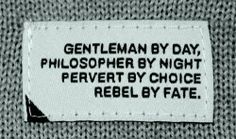 Gentleman by day, philosopher by night, pervert by choice, rebel by fate. #man quote