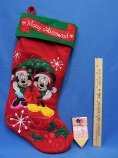 Mickey & Minnie Mouse Merry Christmas Stocking Disney Embroidered + Bonus Mickey Minnie Mouse, Winter Fun, Winter Wonderland, Christmas Stockings, Merry Christmas, Holiday Decor, Disney, Ebay, Needlepoint Christmas Stockings