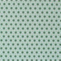 ... Tissu en coton à motifs géométriques vert et noir sur fond blanc