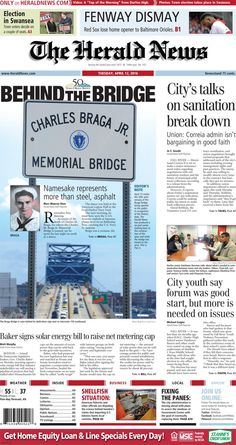The front page of The Herald News for Tuesday, April 12, 2016.