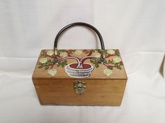 Vintage Purse Wooden Hand Decorated Gary Gails Dallas Japan by KansasKardsStudio on Etsy