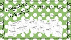 """Do you use GLAD in your classroom?  If so...this is for you!  Cognitive Content Dictionary booklets to cover subjects through the year.  Perfect for early learners to copy off your classroom generated Cognitive Content Chart.  If you receive Scholastic News """"Let's Find Out"""" these match perfectly!"""