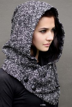 Black and White Boucle Wool/Acrylic Blend Snood, unique handmade eco urban style, hoodie scarf Sewing Scarves, Sewing Clothes, Diy Clothes, Estilo Cool, Mode Style, Neck Warmer, Refashion, Hijab Fashion, Fashion Fashion