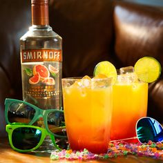 THE DESERT SUNRISE. Whether you're rocking out at the festival or livestreaming from home, The Desert Sunrise is a delicious way to please the crowd.  Just mix 1.5 oz SMIRNOFF Ruby Red Grapefruit, 3 oz Orange Juice, a Splash of Grenadine and Garnish with a Lime Wheel.