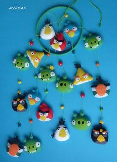 Felt mobile with Angry Birds. by Kosucas on Etsy