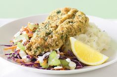 Golden veal with a polenta-parsley crumb is simply delicious when served with creamy potato mash and red cabbage coleslaw ~ recipe Gemma Purcell ~ pic Steve Brown Red Cabbage Coleslaw, Veal Schnitzel, Veal Recipes, Mash Recipe, Serving Plates, Weight Watchers Meals, Tray Bakes, Salmon Burgers, Breakfast Recipes