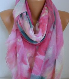 Pastel Tones Cotton Scarf Soft Shawl Spring Summer by fatwoman