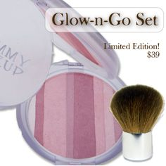 Mommy Makeup introduces the Glow-n-Go Set! Get your skin glamourous and glowing in no time! This limited edition super convenient set contains: * Mineral Shimmer Powder in Pink-a-Boo * Little Lush Kabuki Brush * Organza Bag. And for only $39, it's like getting the brush and organza bag for free! Use each stripe of Pink-a-Boo. * Individually as eye shadow or blush OR * Swirl all the stripes together to give your face and body a glimmer and a glow on the go! Mineral Shimmer Powder is *Oil-free…