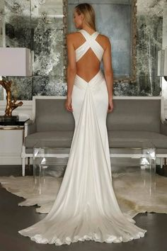 Simple Plunging Mermaid Criss-cross Back Wedding Dress ,love if so much and beautiful for brides