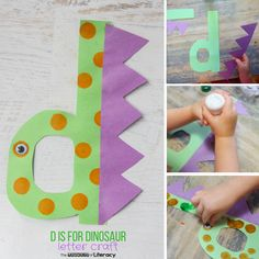 Letter D Craft- D is for Dinosaur - The Letters of Literacy Nail Desing letter d nail design Preschool Letter Crafts, Dinosaur Theme Preschool, Alphabet Letter Crafts, K Crafts, Bible Crafts For Kids, Daycare Crafts, Alphabet Activities, Fall Crafts, Preschool Activities