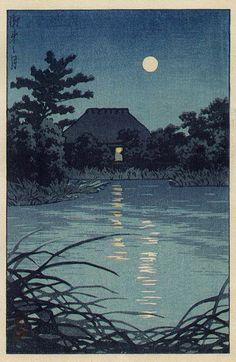 hanga gallery . . . torii gallery: Farmhouse under full moon by Kawase Hasui