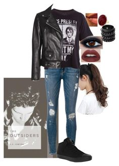 """""""The Outsiders"""" by aleshagrace-1 ❤ liked on Polyvore featuring Frame Denim, Trunk LTD, Acne Studios, Converse and Mia Bag"""