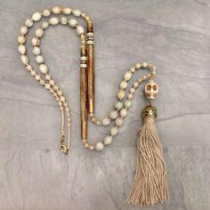 Skull necklace white Handmade boho chic jewelry Sugar skull necklace Day of the dead jewelry