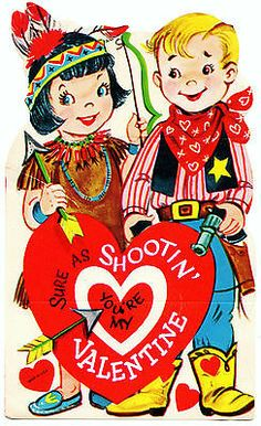 COWBOY AND INDIAN MAIDEN ARE SURE SHOOTIN SWEETHEARTS /VTG UNUSED VALENTINE CARD