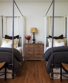 Pretty Twin Bedroom Light curtains accent the four poster beds. This twin bedroom features bedding House & Home designed with fabrics courtesy of Kravet and Primavera. Home Bedroom, Girls Bedroom, Bedroom Decor, Bedroom Ideas, Upstairs Bedroom, Bed Ideas, Master Bedroom, Small Guest Rooms, Guest Bedrooms