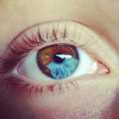Heterochromia eyes ❤ liked on Polyvore featuring beauty products, skincare, eye care and eyes