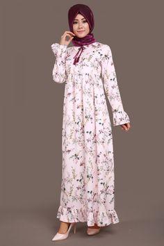 Sivri Yaka Çiçekli Elbise Pudra Ürün kodu: MDH6422 --> 109.90 TL