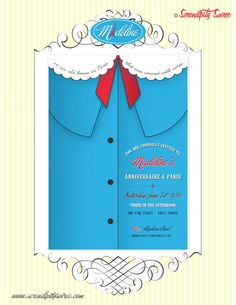 "Madeline children's book printable invitation {custom bookplate also available}: ""in an old house in Paris that was covered with vines..."", $15.00, via Etsy."