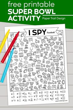 The I spy football activity page is a fun way to keep little kids busy during the super bowl, rose bowl, or your favorite football team's bowl game.