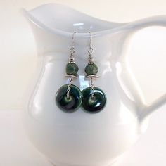 Earrings Festive Green Kazuri With Czech Glass by CinLynnBoutique