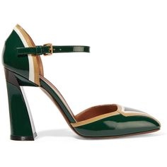 Marni Patent-leather pumps ($340) ❤ liked on Polyvore featuring shoes, pumps, forest green, marni, strappy high heel shoes, patent shoes, high heel pumps and strap high heel shoes