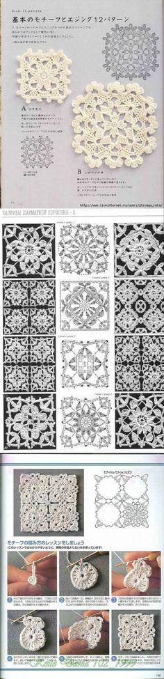 cuadrados de ganchillo muchos / ganchillo / ganchillo para principiantes