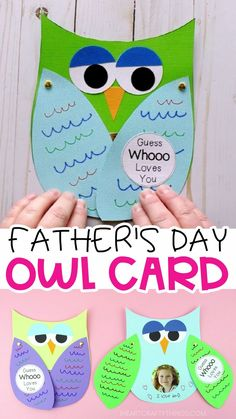 Make Father's Day special this year for Dad and Grandpa with this Guess Whooo Loves You Father's Day Owl Card. A free template is included to make this Father's Day Craft simple for kids of all ages to make. Easy Father's Day card for preschoolers. Diy Father's Day Crafts, Father's Day Diy, Diy Crafts For Kids, Holiday Crafts, Easy Crafts, Children Crafts, Art Children, Kids Diy, Diy Father's Day Gifts Easy
