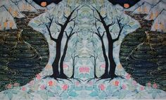 "Lothlorien - Enchanted Land - batik fabric 10"" x 36"" - Custom printed fabric from original art -quilt applique"