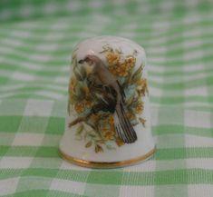 Vintage Bird Thimble, Camelot China Made in England, Mockingbird or Similar Garden Bird, English Fine Bone China