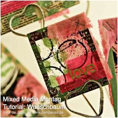 #MixedMediaMontag Tutorial von Irma de Jager für www.danipeuss.de: Wunschbaum mit @Kerry Chilton Inc. Polaroid Frames, Masks und bedruckter Folie