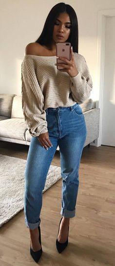 cute outfit idea blousw + jeans + heels