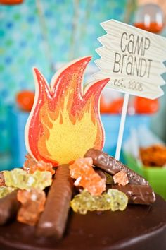 Summer Camp Theme Party Campfire Cake