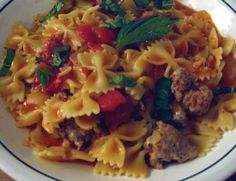 ... Sausage and Vegetables | Bow Tie Pasta, Italian Sausages and Bow Ties
