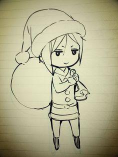 Yana's Christmas Eve sketch of Sebastian. ^.^  落書き帳