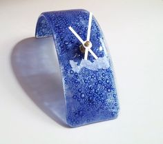 Modern Fused Glass Arched Desk Clock in Cobalt Bubble $50