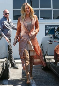 On-the-go: Khloe Kardashianwas spotted leaving a studio in Van Nuys, California on Thursday