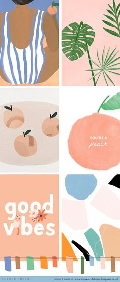 Colour crush is part of drawings - I love a peachy blue combo! So nice with that pop of green too (image credits clockwise from top left) 1 2 3 4 5 Design Art, Web Design, Logo Design, Brand Design, Identity Design, Brand Identity, Design Elements, Palette Pastel, Photo Images