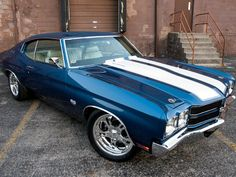 Chevelle SS with racing stripes. Someday I will build/rebuild one for myself. Out of all the American muscle cars I love, the Chevelle SS is easily my favorite. Chevy Chevelle Ss, Chevy Pickups, Chevy Nova, Automobile, Chevy Muscle Cars, Old School Cars, Sweet Cars, Us Cars, Cars Usa