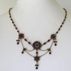 Antique Victorian Edwardian Bohemian Garnet Festoon Dangle Necklace