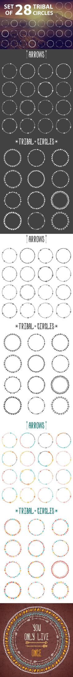 Set of 28 circle frames.
