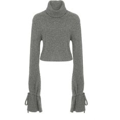 A.L.C. Emilie Wool-Blend Sweater (5.270.480 IDR) ❤ liked on Polyvore featuring tops, sweaters, grey turtleneck sweater, turtleneck sweaters, tie top, gray turtleneck and grey top
