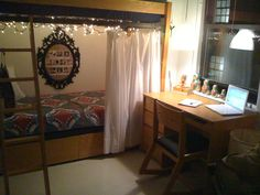 Love all of this.. the bed, the lights, the curtain, the desk and the dolls...