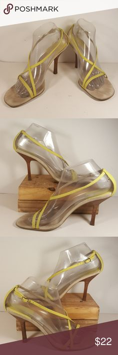 """Calvin Klein """"Rachel""""  Women Yellow Leather Up for your consideration is this elegant pair of Calvin Klein yellow leather high heel sandals for women, size 8.5  The model is """"Rachel"""" Have very thin straps with a closed back.  Very good pre-owned condition, light signs of wear on the insoles.  Heels is about 3 inches 3/4.   Please look at the pictures for the details.  Feel free to ask any questions  Please check my other listings, I have more clothes and shoes for the whole family.  Thank…"""