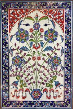 40x60cm hand painted Ceramic Wall Iznik Floral Art Tile Mural